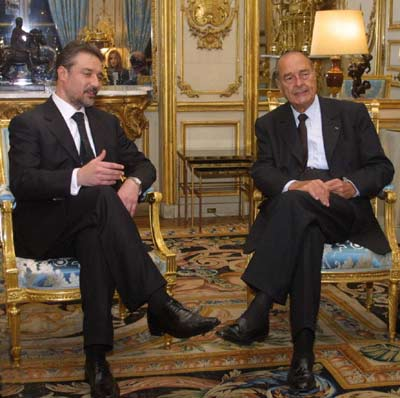Crvenkovski with Chirac in the Elysee Palace, Paris, January 2004.